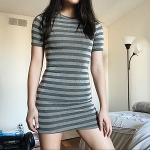 Forever 21 Ribbed Striped Bodycon Dress